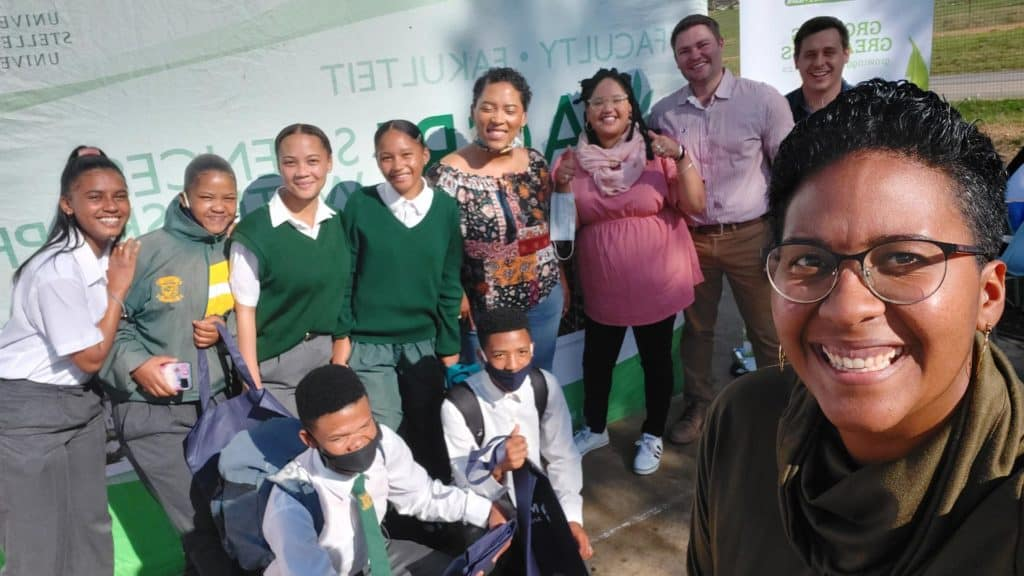 Dawn Noemdoe and guest panelists with grade 11 students from Roodezandt Secondary School in Saron. Photo: Food For Mzansi