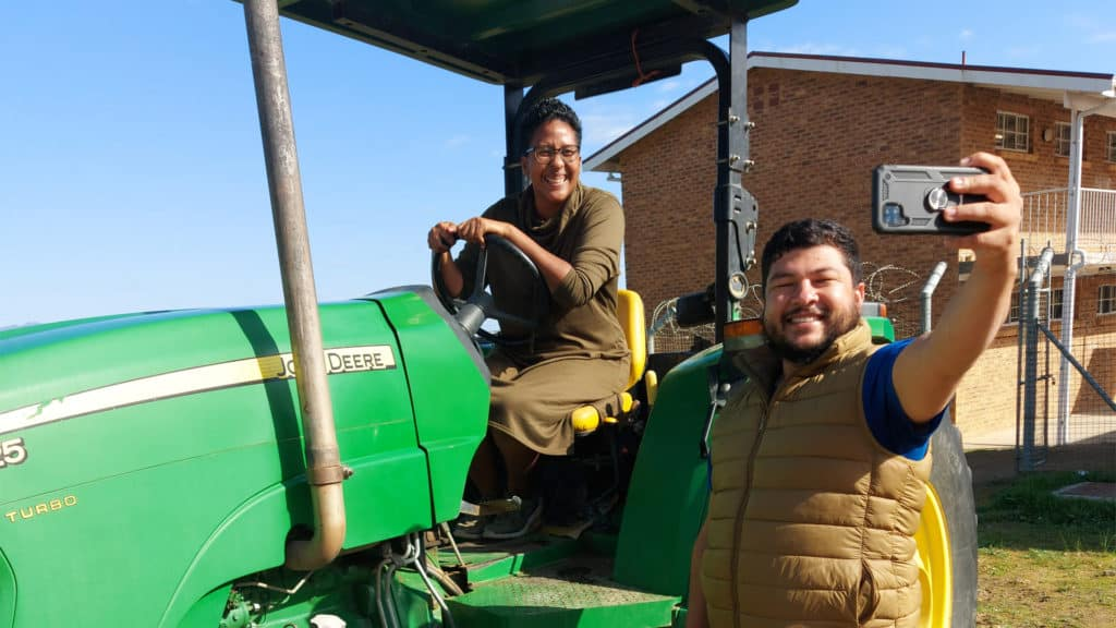 Dawn Noemdoe and Gary Patience seen here with a tractor. Photo: Food For Mzansi