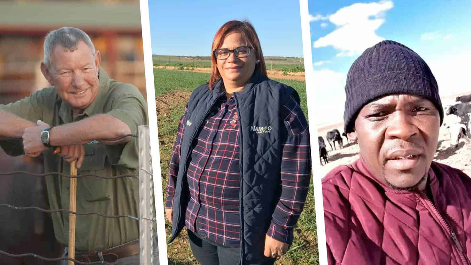 Meet some of the farmers who have pledged to assist their workers who wish to register for the Covid-19 vaccine. From the left are Nick Serfontein from Edenville, Alfreda Mars from Moorreesburg and Ratlale Masiu from Bloemfontein. Photos: Supplied/Food For Mzansi