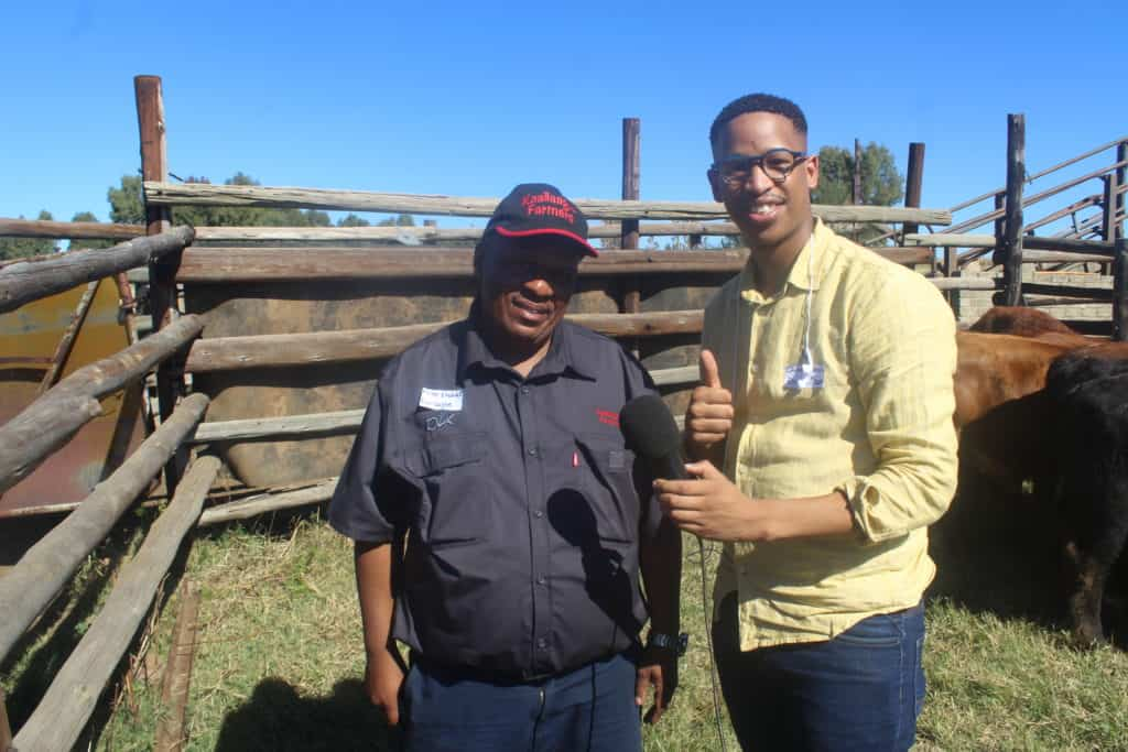 Joseph Khahleli, chairperson of the Kaallaagte Farmers' Association posing for a picture Food For Mzansi journalist Duncan Masiwa. Photo: Food For Mzansi