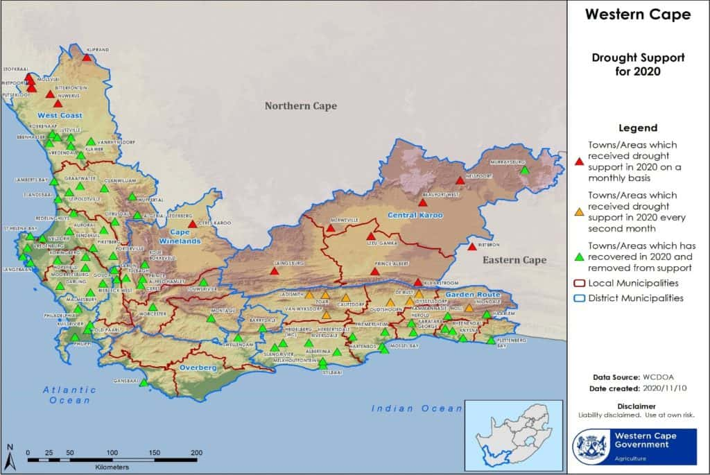 The Western Cape department of agriculture released a map detailing the current veld conditions in the province. Image: Supplied/Food For Mzansi
