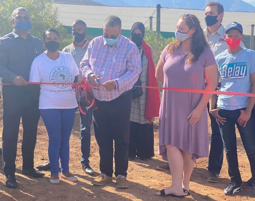 Minister Meyer cuts ribbon of the new indigenous nursery. Photo: Supplied/ Food For Mzansi