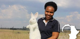 Lesego Morapeli is a laboratory technician who started rabbit farming in 2018 after attending trainings.