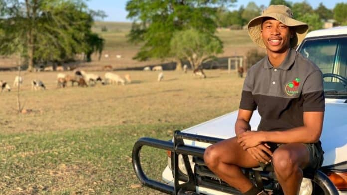 """Only 23, Phikolomzi Dlamini from KwaZulu-Natal is a future-focused farmer. He says, """"People do not understand. There are so many difficulties in the industry."""" Photo: Twitter"""