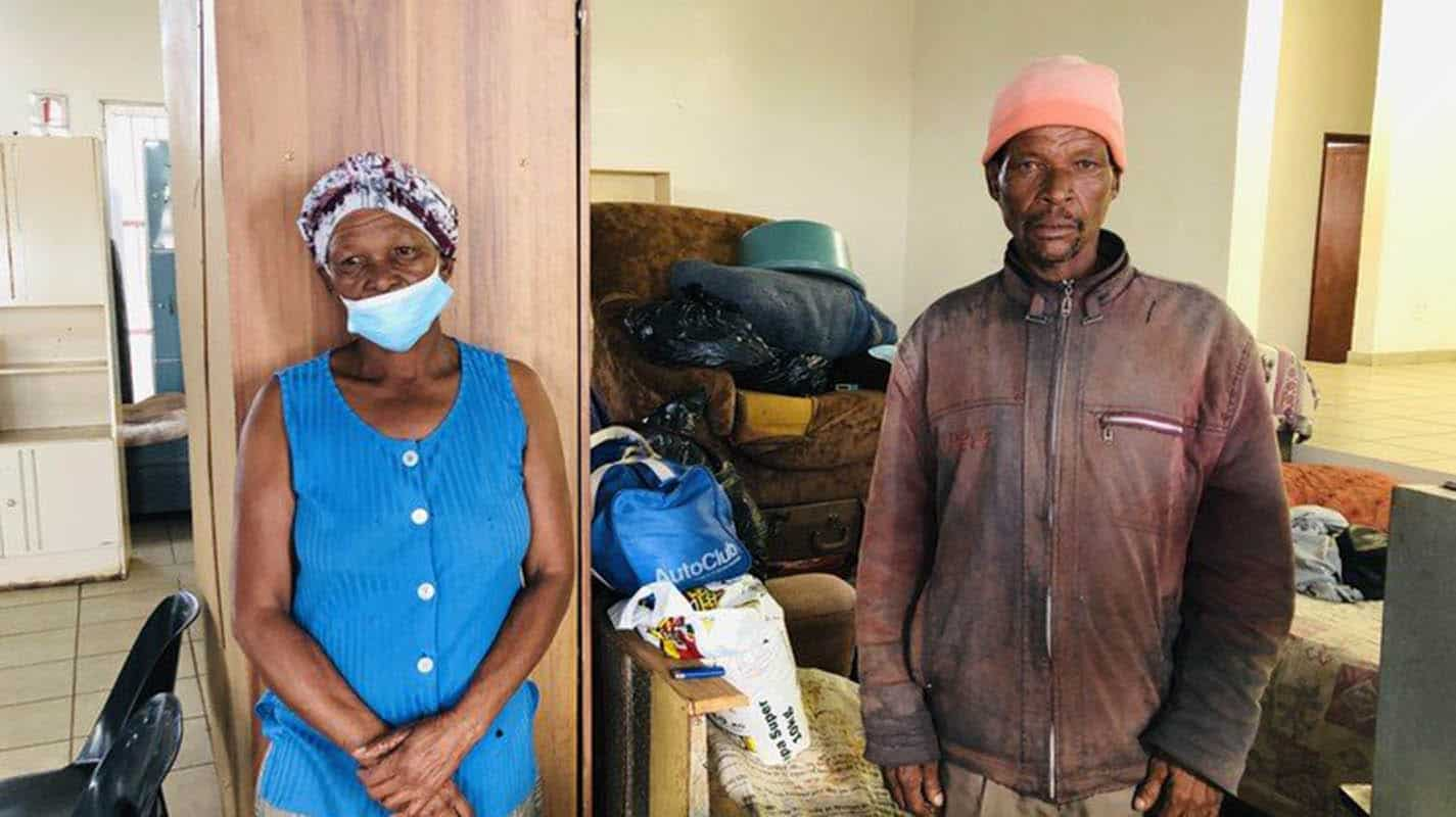 Lisbeth Blake and Andries Ntlatlana were among 46 people evicted from Blesbokfontein Farm in Ventersdorp, North West, two months ago. The Department of Land Reform and Rural Development says it will relocate the evictees to a new farm in June. Photo: Kimberley Mutandiro/GroundUp
