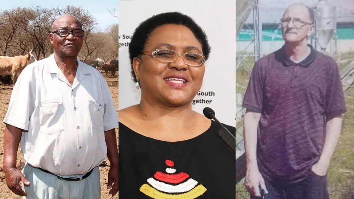 Thoko Didiza (middle), the minister of agriculture, land reform and rural development, has addressed some of the lessons learnt following earlier altercations with farmers David Rakgase from Limpopo (left) and Ivan Cloete from the Western Cape. Photos: Supplied/Food For Mzansi