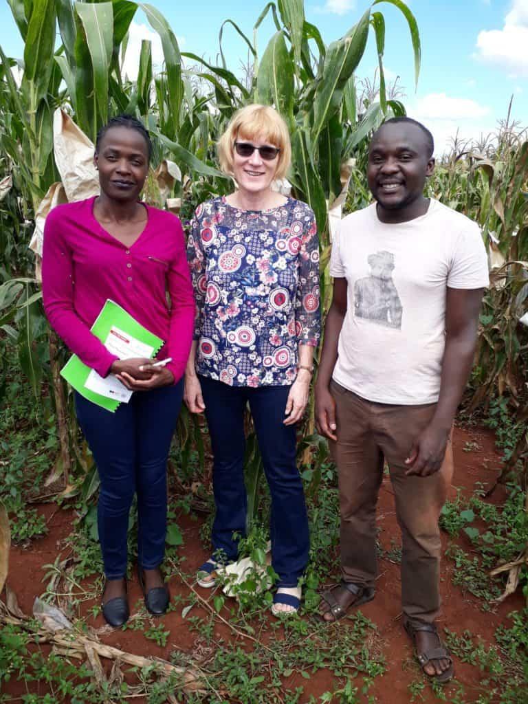 Nakai Matongera, PhD student, Professor Maryke Labuschagne, and Nyika Rwatirera, also a PhD student. Both students are working on maize bio-fortification. Photo: Supplied/Food For Mzansi