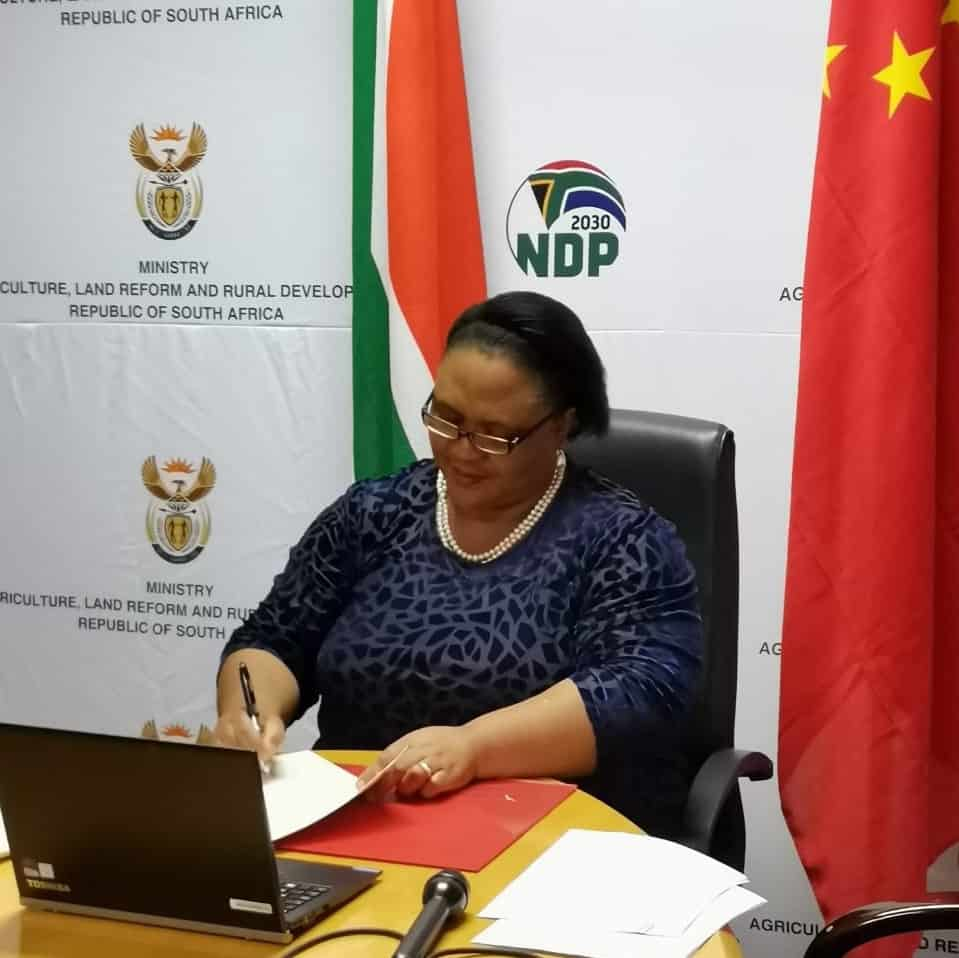 Thoko Didiza signing the Protocol of Phytosanitary Requirements in Pretoria. Photo: Supplied/DALRRD