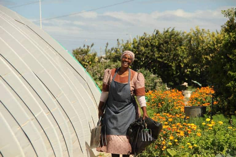 """""""This garden brings us together – as sisters. We became a lot like family lately and it reminds us of our younger days when we helped our parents in the Eastern Cape,"""" says Mama Bukulu. Photo: Supplied/Food For Mzansi community farmer"""