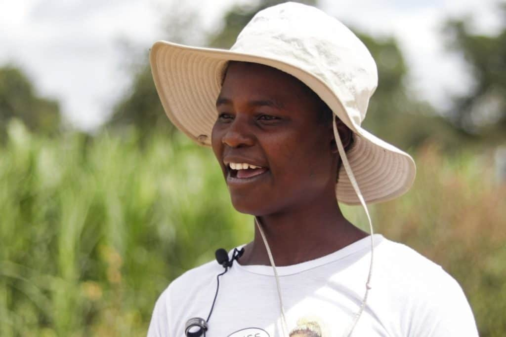 Miriam Sibanda is the youngest member of a group of 10 Zimbabwean women who are participating in a pilot project to produce black soldier fly larvae/maggots  to augment chicken feed. Photo: Kudzanai Musengi