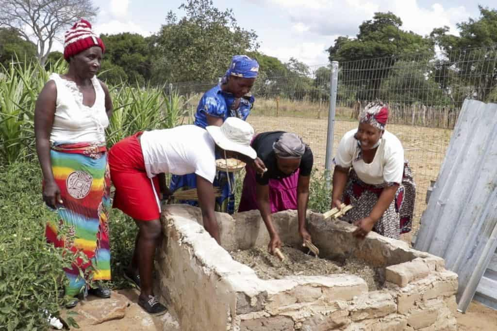 To harvest the protein-rich maggots, Miriam Sibanda and her colleagues use their hands to dig into the substrate in which the larvae grow. Photo: Kudzanai Musengi