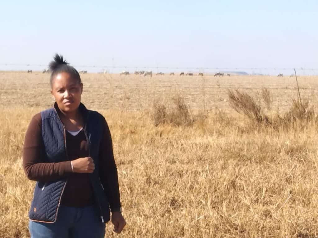 Land for chronies? Matselane Chauke (38) outside the Vanderbijlpark farm from which they are being evicted. Photo: Supplied/Food For Mzansi