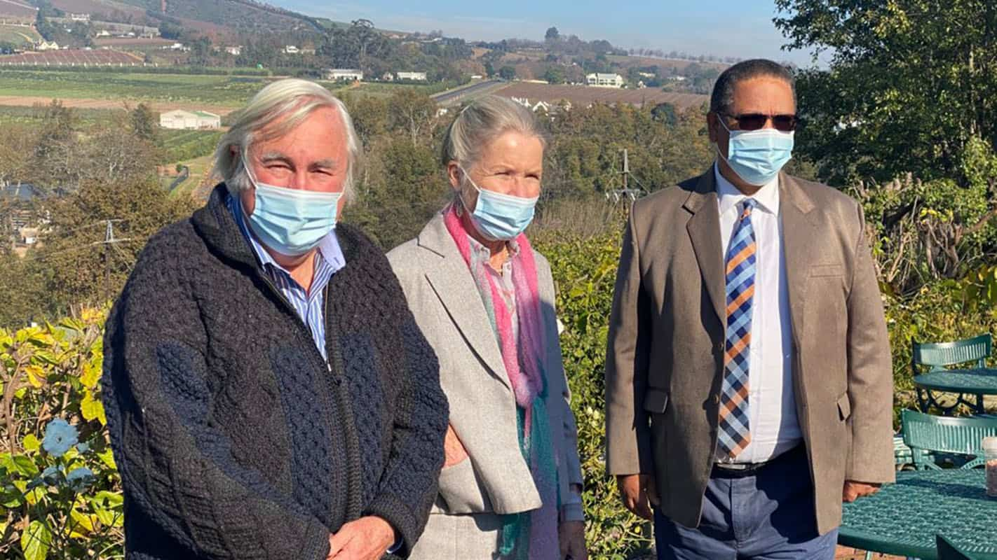 Western Cape agriculture minister Dr Ivan Meyer visited Raymond and Betty O'Grady following a vicious farm attack the two suffered in August 2020. Photo: Supplied/Food For Mzansi
