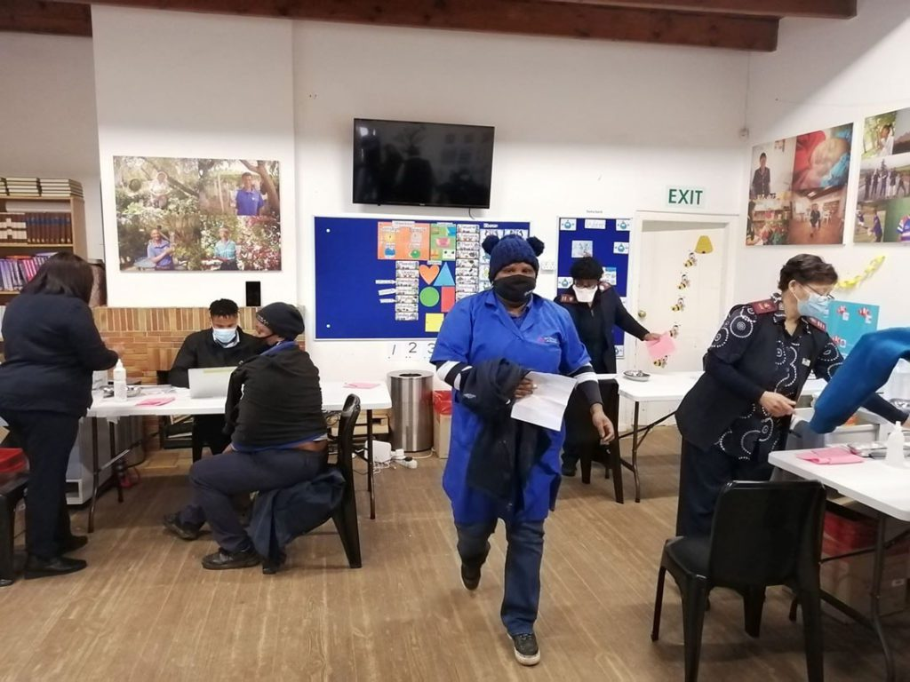 Farmworkers jabbed: A peek into the inside of the vaccination centre temporarily set up at Bovlei farm in Wellington in the Western Cape. Photo: Supplied/Food For Mzansi