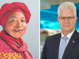 Cooperative governance and traditional affairs minister Dr Nkosazana Dlamini-Zuma and Western Cape premier Alan Winde. Since last year, Dlamini-Zuma has become the face of the alcohol sales ban due to her role in the National Coronavirus Command Council. Photos: Supplied/Food For Mzansi