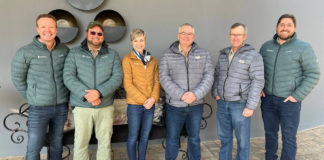 Meet the power team focusing on how to bring producers cost-effective solutions. From the left is Johan Nienaber from InteliGro, farmer Junior Ferreira, Janet Lawless from InteliGro, Francois Swanepoel from VKB, farmer Izak Dreyer and Niel Kruger from InteliGro. Photo: Supplied/Food For Mzansi