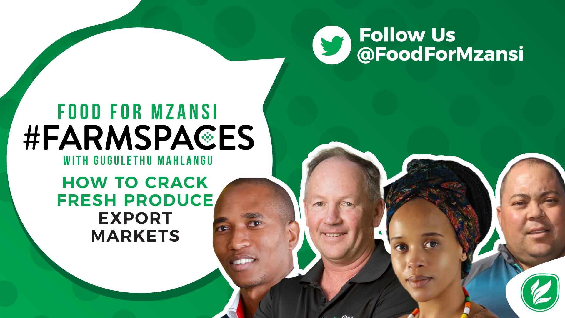 agriculture events: Join us on Twitter for Food For Mzansi #FarmSpaces, every Monday at 6:00pm. This week's #FarmSpaces features, from left, Sifiso Ntombela, Justin Chadwick, and Gugulethu Mahlangu. Photo: Supplied/Food For Mzansi