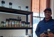 Agripreneur Basil Williams with some of the products in his Herbal View range. Photo: Supplied/Food For Mzansi