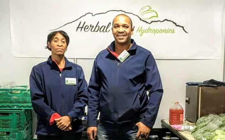 Herbal View Hydroponics directors, Basil Williams and Caroline Williams (sister), exhibiting at the annual South African Cheese Festival. Photo: Supplied/Food for Mzansi.