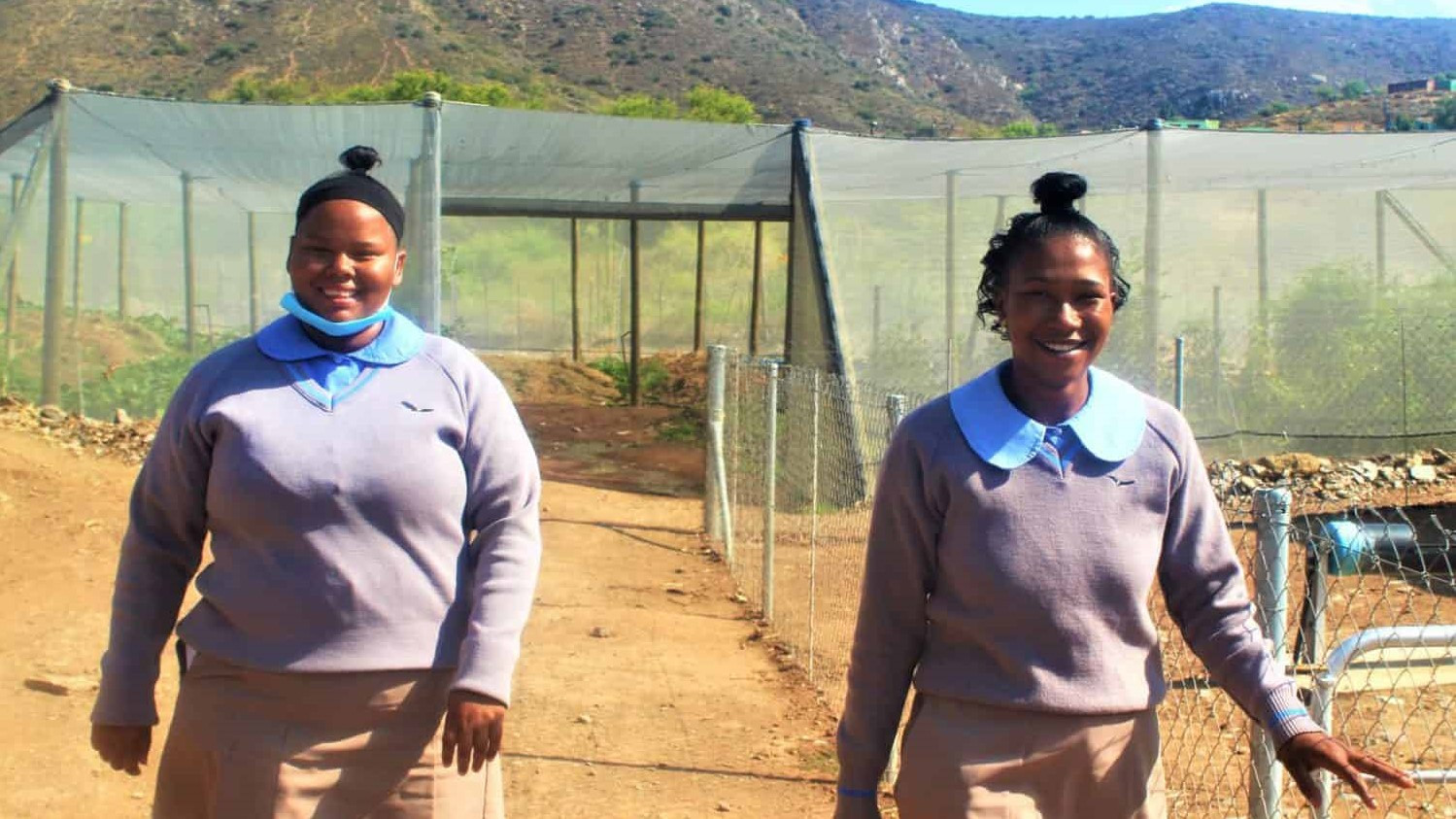 Mary-Ann Swart and Kathryn van Zyl are both agricultural students at the Jakes Gerwel Technical High School. They plan to pursue careers in agriculture. Photo: Food For Mzansi