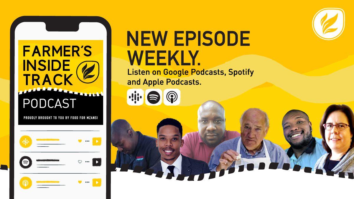 This week's podcast features (from left) Given Ngwamba, Khaya Maloney, Noko Seboni, Kobus Mulder, Athenkosi Denga, and Carolien Samson. Photos: Supplied/Food for Mzansi.